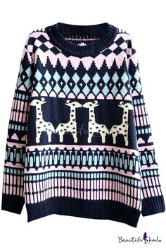Jacquard Deer Pattern Round Neck Long Sleeve Sweater - Beautifulhalo.com