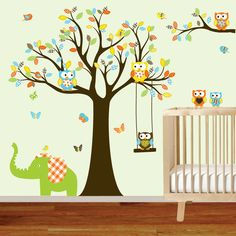 ON SALE Tree Decal Nursery Wall Stickers Colorful by wallartdesign $125.00  sc 1 st  Pinterest & Tree and bird wall decals Nursery wall sticker Branch by cuma ...