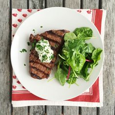 Grilled Sirloin with Garlic Herb Spread and Mixed Greens