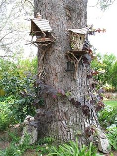 Fairy Houses   This Summer, We Will Make Our Yard Welcoming To Fairies! I  Love How They Are Up The Tree Also