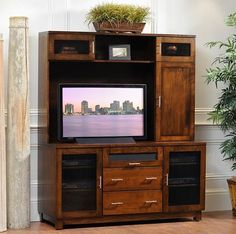 Solid Wood Amish Made Entertainment Centers (with Optional Hutch): Classic wood entertainment center with plenty of shelves and storage.