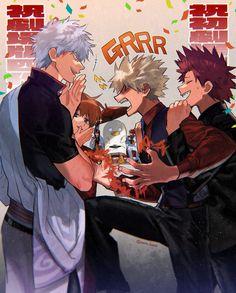 Gintama crossover Boku no hero Me Anime, Fanarts Anime, Anime Guys, Anime Art, Hero Academia Characters, My Hero Academia Manga, Anime Characters, Manhwa, Kirishima Eijirou