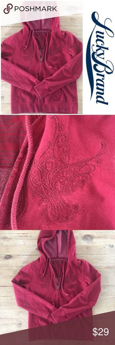 Lucky Brand embroidered boho zip up hoodie Lucky Brand embroidered boho zip up hoodie.  Size M.  Excellent condition. Lucky Brand Tops