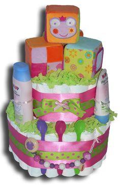 Würfelspass Windeltorte Mädchen - Geschenk zur Geburt