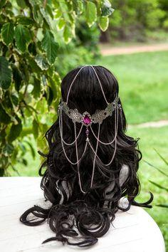 Beautiful handmade Amethyst purple Elven flower crown circlet. $89.00, via Etsy.