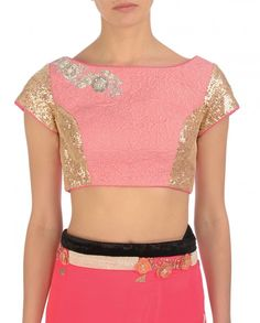Neon Pink Sari with Sequined Soft Pink Blouse - Saris - Apparel