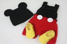"This Out Fit (Not Including Booties) Can Be Purchased Through ""Etsy"" For About $45.00 + S Here Is The Link ... http://www.etsy.com/listing/94376843/crochet-mickey-mouse-hat-and-romper?ref=sr_gallery_10_includes%5B%5D=tags_search_query=crochet+mickey+mouse_search_type=all_view_type=gallery"