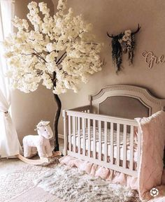 50 Inspiring Nursery Ideas for Your Baby Girl - Cute Designs You'll Love Get inspired to prepare and create the perfect room for your baby girl. These baby girl nursery ideas can help you create a cute girly room style. Baby Bedroom, Baby Room Decor, Baby Girl Rooms, Baby Nursery Ideas For Girl, Baby Girl Nursery Bedding, Rose Nursery, Princess Nursery, Crib Bedding, Kids Bedroom