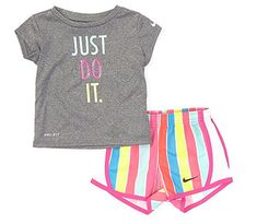 Nike Baby Girls Months Short-Sleeve Just Do It Tee & Retro-Stripe Shorts Set Cute Girl Outfits, Little Girl Outfits, Kids Outfits Girls, Cute Outfits For Kids, Black Kids Fashion, Kids Fashion Boy, Girl Fashion, Fashion Outfits, Retro Fashion