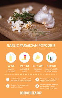 Garlic Parmesan Popcorn This looks amazing Healthy Popcorn, Popcorn Recipes, Healthy Snacks, Healthy Recipes, Bean Recipes, Sweets Recipes, Just Desserts, Garlic Cheese, Garlic Parmesan