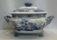 56341 ANTIQUE 1840s BLUE WHITE STAFFORDSHIRE CHINA CHINESE SCENIC CLAW FT TUREEN #Victorian #Staffordshire
