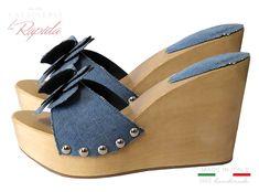 Zeppe Donna Denim Jeans in legno Novità Estate Cork Wedges Women Cork Wedges, Ciabatta, Estate, Ipod Touch, Sandals, Sexy, Shoes, Fashion, Zapatos