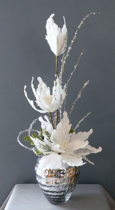 Elegant Winter Bouquet, Christmas Floral Arrangement, Holiday Floral Arrangement via Etsy.