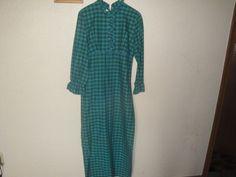 Vintage 70s Maxi Dress Green Plaid Check Mode O Day Calif. Boho Hippie Prairie #modeoday #Maxi #SpecialOccasion
