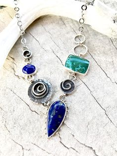 Lapis and Chrysocolla Necklace Asymmetrical Necklace Multi
