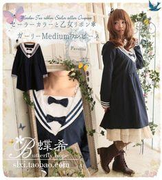 Japanese-sailor-collar-Sweet-Lolita-Cute-Bow-Preppy-Look-Princess-Dress-KGG22