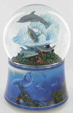 Dolphin Family Musical Glitter Globe