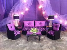 Barbie Furniture / Monster High / Bratz - Living Room Set - Black & Purple Cheetah Sofa and 2 Accent Chairs