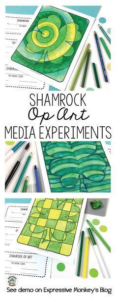 Give kids a chance to experiment with different ways to make green, then use a variety of greens to color in the Op Art Shamrocks. See the media and techniques I used to create my shamrocks in this blog post. This set of Op Art Shamrock Coloring Pages will rock your St. Patrick's Day!