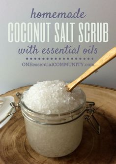 This diy coconut salt scrub with essential oils looks awesome!  www.electricturtles.com/collections