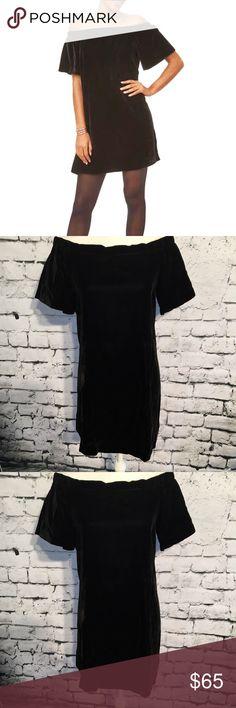 97ae05ac213b 📌LOFT Velvet Off-Shoulder Mini Swing Dress Size S NWT