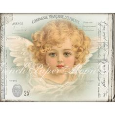 Shabby Vintage Cherub, French Angel Digital, Shabby Christmas Angel,... ($3.02) ❤ liked on Polyvore featuring home and home decor