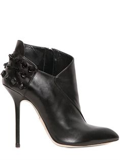DANIELE MICHETTI - 120MM STUDDED CALF LEATHER ANKLE BOOTS #shoes #heels