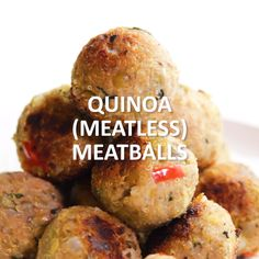 Quinoa meatballs are just as hearty as traditional beef meatballs, but are much lower in saturated fat. Plus they're filled with plant-based protein! Click the video for the full recipe. Best Recipes on Cooking Quinoa in a Crock Pot Healthy Recipes, Raw Food Recipes, Cooking Recipes, Cooking Tips, Vegetarian Recipes Videos, Protein Recipes, Diet Recipes, Vegan Foods, Vegetarian Recipes