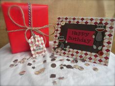 Classic Sock Monkey Birthday Card & Gift Tag Set by MarksOnMyHeart, $5.95