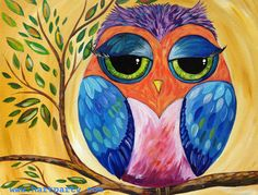 Colorful Owl By Cinnamon Cooney The Art Sherpa as a Fully guided art lesson for…