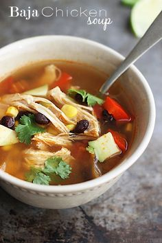 Baja Chicken Soup - A delicious and healthy soup with chicken, a hint of lime and lots of baja flavor! A perfect cold weather slow cooker recipe! Slow Cooker Soup, Slow Cooker Recipes, Crockpot Recipes, Soup Recipes, Diet Recipes, Cooking Recipes, Healthy Recipes, Healthy Soup, Healthy Meals