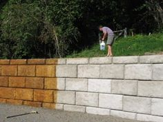 Acid Staining Concrete Retaining Walls provides is a low maintenance, easy to apply color option to help better blend concrete walls into its surroundings. Concrete Fence Wall, Concrete Block Retaining Wall, Painting Concrete Walls, Concrete Block Walls, Cinder Block Walls, Patio Wall, Concrete Patio, Cinder Blocks, Retaining Blocks