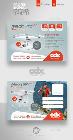 Buy Drone Technology Postcard Templates by grafilker on GraphicRiver. Graphic Design Brochure, Brochure Design Inspiration, Graphic Design Print, Banner Design, Flyer Design, Web Design, Logo Design, Postcard Template, Postcard Design