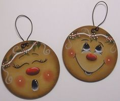 HP GINGERBREAD Faces ORNAMENTS
