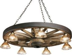 Rustic Lodge Reproduction Wagon Wheel Chandelier with Down Lights : Cabela's