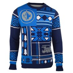 Winnipeg Jets Patches Ugly Crew Neck Sweater from UglyTeams