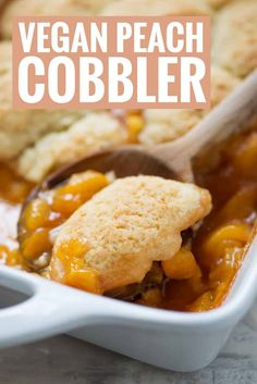 The BEST summer dessert. Fresh peaches topped with vegan cobbler. If you have extra peaches lying around, then you've gotta make this recipe! Vegan Dessert Recipes, Whole Food Recipes, Vegetarian Recipes, Healthy Recipes, Healthy Desserts, Cake Recipes, Cooking Recipes, Vegan Treats, Vegan Foods