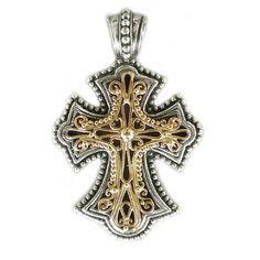 Gerochristo 5304 ~ Solid Gold & Silver Byzantine Cross Pendant