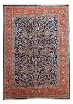 Important TABRIZ (Perse), début du XXème siècle  Fond bleu marine à semis de…