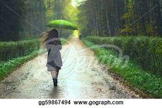 """Girl walking under rain in autumn park"" - Rain Stock Photo from Go Graph"