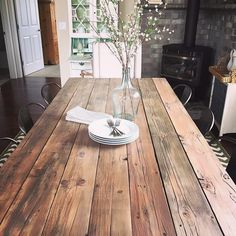 Nothing says beautiful farmhouse style than a gorgeous wood table! And our Demi John Bottle makes a lovely centerpiece! Thanks for sharing RefinedDesign!