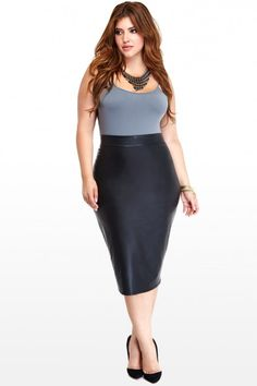 Plus Size Lusty Faux-Leather Midi Pencil Skirt | Fashion To Figure - $20.50  I NEED THIS SKIRT!!!