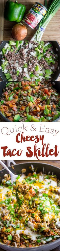Quick and easy cheesy taco skillet- this gluten free dinner is delicious and perfect for families!