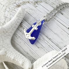 Cobalt Blue Sea Glass and Sterling Silver Anchor Charm Pendant