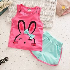 toddler girl clothing sets Picture - More Detailed Picture about Lovely Cartoon Rabbit Baby Girl Clothes 2017 New Children Summer Girls Clothes Toddler Girl Clothing Set 0 1 2 3 4 Years Picture in Clothing Sets from Lokedike Offical Store Baby Outfits, Kids Outfits Girls, Toddler Girl Outfits, Toddler Girls, Luxury Baby Clothes, Unisex Baby Clothes, Cartoon Outfits, Animal Print T Shirts, Sleeveless Outfit