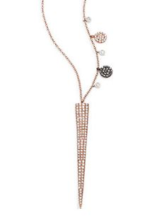 Meira T - Pave Diamond 14K Yellow Gold Moon Pendant Necklace