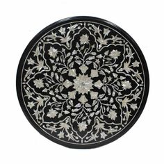 Round coffee table top / mother of pearl inlay furniture / pietra dura stone inlaid collectible art Black Marble Coffee Table, Black Coffee Tables, Round Coffee Table, Black Table, All Modern Furniture, Outdoor Dining Furniture, Agra, Mesa Sofa, Stone Table Top
