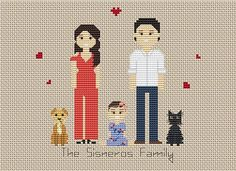 Custom Family Cross Stitch PDF Pattern * This portrait listing is for a custom cross stitched PATTERN * Price varies on number of characters. *** If you want completed cross stitch portrait, please contact me!*** We craft beautiful memories. This is a PDF personalized pattern to