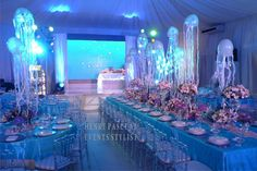Under The Sea Styling by Henry Pascual - love the jellyfish Quince Themes, Quince Decorations, Quince Ideas, Sea Wedding Theme, Mermaid Wedding, Diy Wedding, Wedding Reception, Wedding Flowers, Wedding Ideas