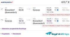 AIR FRANCE FLUG VON DÜSSELDORF NACH CARACAS IM MÄRZ 2016 FÜR 616 EURO